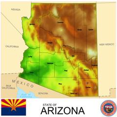 Arizona USA counties name location map background