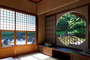 吉野窓越しに見る庭