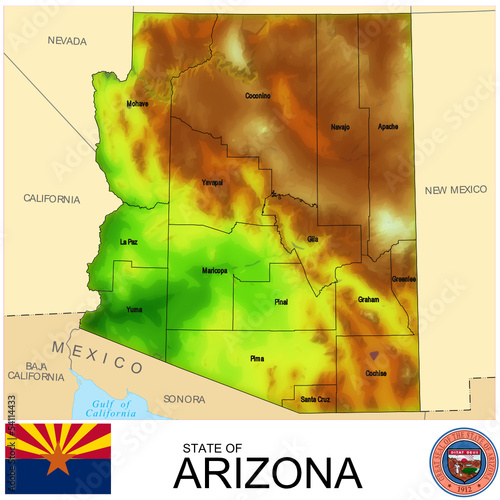 Arizona USA counties name location map background