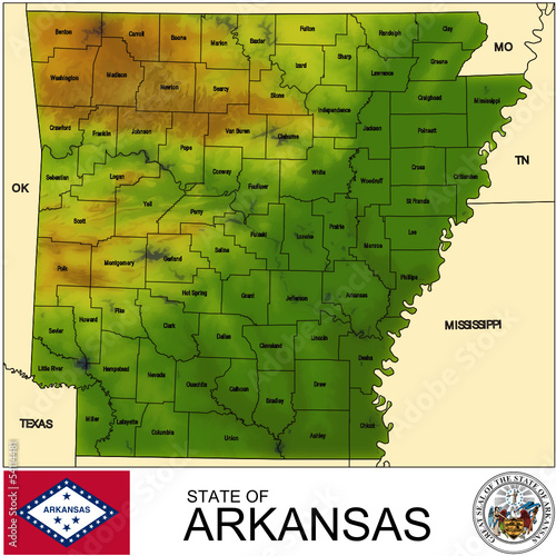 Arkansas USA counties name location map background