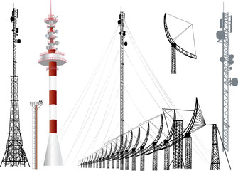 collection of antenna silhouettes isolated on white