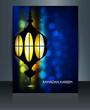 Ramadan Kareem brochure template Arabic lamp with lights vector