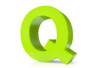 3d green letter - Q