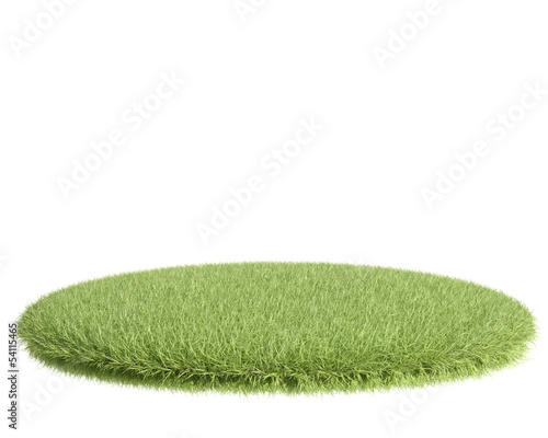 Green grass field on white