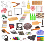Set of different household objects on a white background
