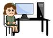 Computer Student - Vector Illustration