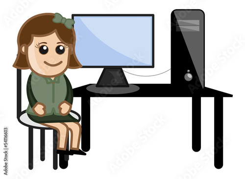 Computer Student - Vector Illustration