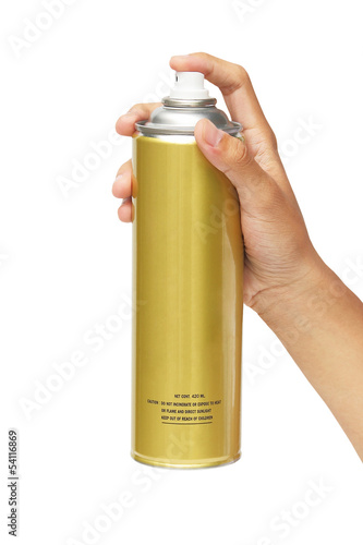 Hand holding a spray can isolated over white background