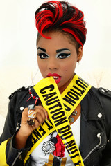 Sexy Black Woman Wrapped in Caution Tape