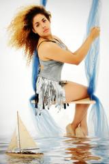 Beautiful Italian Syrian Woman on Swing