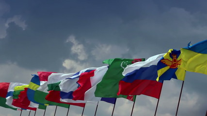 Various flags of different states. For summit, meeting