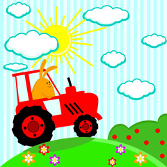 Cute rabbit in the tractor