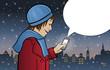Maria in der Altstadt mit Smartphone und leerer Sprechblase
