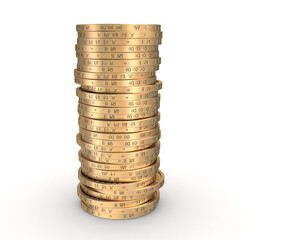 Singl stack of coins