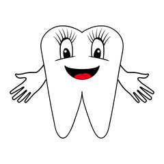 smiling tooth with divorced hands. vector