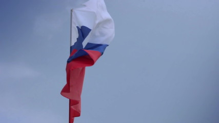 Flag of Russia on flagstaff. Russian Federation national flag.
