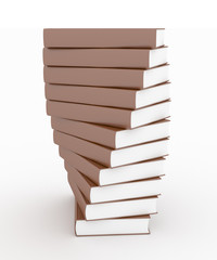 Stack of brown books isolated