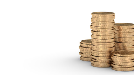 Stacks of golden dollar coins with DOF