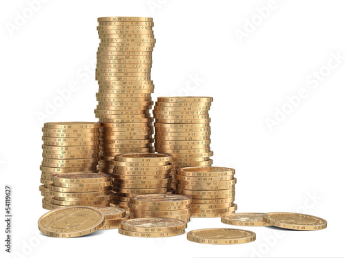 Stacks of golden dollar coins on white background