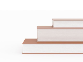 Three brown books on white