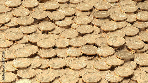 Texture of golden dollar coins