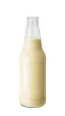 Soy milk in glass bottle isolated on white background