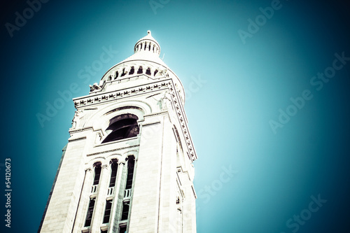 Sacre Coeur Basilica, close up at a summer day. Paris