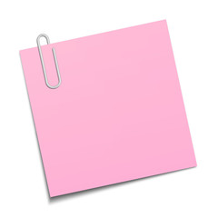 Pink sticky note clipped with a paperclip
