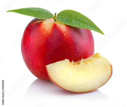 Ripe peach (nectarine) fruit with slices isolated on white