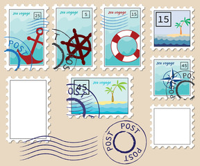 set of stamps on the theme of the sea