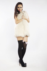 sexual beautiful girl is in fur