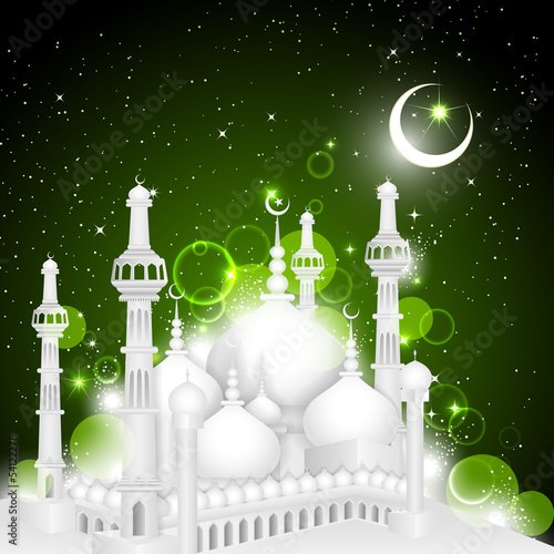 vector illustration of mosque on Eid Mubarak background