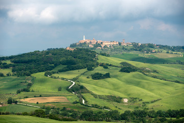 Pienza, a small hill top town in Tuscany, Italy
