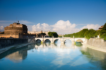 Saint Angel castle  over the Tiber river , Rome, Italy.