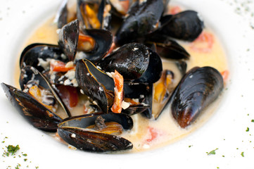 Mussels cooked with vegetables