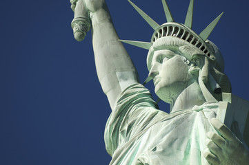 Statue of Liberty Close-Up Blue Sky Profile Horizontal