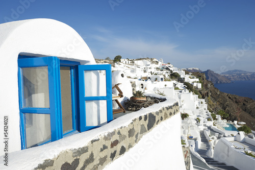 Santorini Greece Oia Village Blue Window Villa