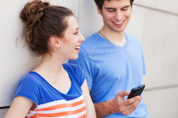 Young people with mobile phone