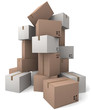 Group of cardboard boxes.