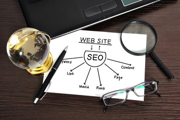 workplace with seo sheme on paper and money