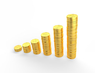 Gold Coins 3D graph with clipping path