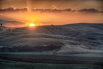 Sunrise over the Crete Senesi