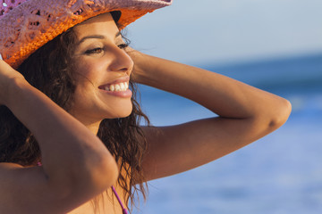 Smiling Woman Girl Bikini Cowboy Hat At Beach