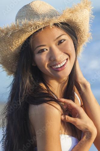 Chinese Asian Woman Girl Bikini Cowboy Hat Beach