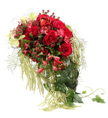 Flower Arrangement with red roses and decorative Hypericum.
