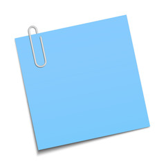 Blue sticky note clipped with a paperclip