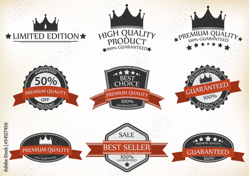 Premium Quality and Guarantee Labels with retro vintage
