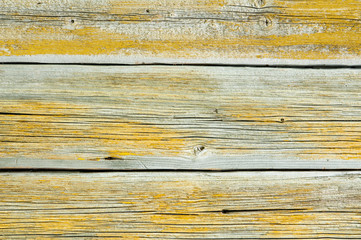 Background of the old wooden painted planks. Closeup.
