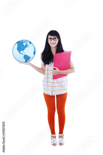 College student holding globe and folder