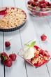 Strawberry crumble with ice cream and muesli